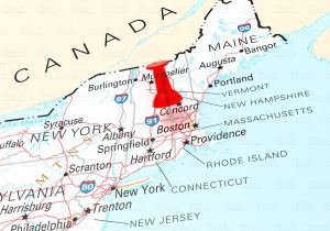 Red Thumbtack Over Massachusetts State USA Map. 3D rendering